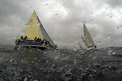 The Clyde Cruising Club's Scottish Series held on Loch Fyne by Tarbert. .Day 4 Racing with a wet Southerly to start clearing up for the last race...Class 1 start with GBR9192R ,Eos ,Rod Stuart ,CCC/PEYC ,Elan 410