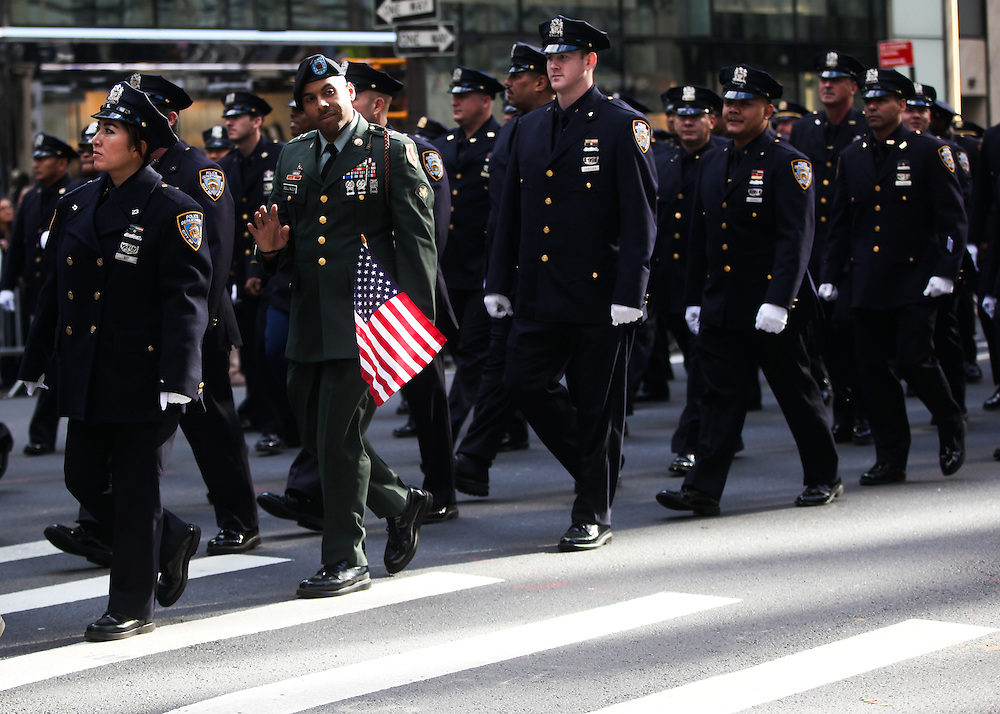 Members and supporters of the U.S. Armed services came to celebrate their sacrifices during the Veterans Day Parade in Manhattan on Friday, November 11, 2016. (Credit: Byron Smith)
