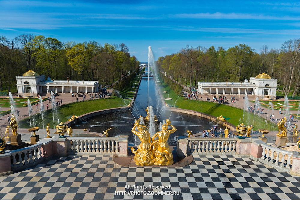 The Grand Cascade And Samson Fountain In Peterhof, Saint Petersburg