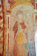 Romanesque fresco of Christ Pantocrator in the altar vault of the Norman Church of St Mary's Kempley Gloucestershire, England, Europe .<br /> <br /> Visit our MEDIEVAL PHOTO COLLECTIONS for more   photos  to download or buy as prints https://funkystock.photoshelter.com/gallery-collection/Medieval-Middle-Ages-Historic-Places-Arcaeological-Sites-Pictures-Images-of/C0000B5ZA54_WD0s