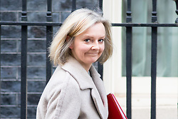 © Licensed to London News Pictures. 16/01/2018. London, UK. Chief Secretary to the Treasury Liz Truss leaving Downing Street after attending a Cabinet meeting this morning. Photo credit : Tom Nicholson/LNP
