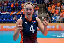 Jolien Knollema of Netherlands celebrate after Netherlands - Argentina, FIVB U20 Women's World Championship on July 10, 2021 in Rotterdam