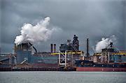 Nederland, the netherlands, ijmuiden,velsen, wijk aan zee, 10-7-2018 . Voorheen Koninklijke hoogovens, tatasteel, fusie met de duitse staalproducent Thyssen-Krupp . De nederlandse fabriek procuceert hoogwaardig staal waarvan veel voor de export naar de vs bestemd is . Door de importheffing van trump komt dit in gevaar . Foto: Flip Franssen