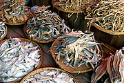 Dried fish for sale at an early morning market in Loikaw on 17th January 2016 in Kayah state, Myanmar.  A large variety of local products are available for sale in fresh markets all over Myanmar, all being sold on small individual stalls