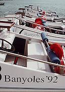 .Barcelona Olympic Games 1992.Olympic Regatta - Lake Banyoles.Umpires boats..       {Mandatory Credit: © Peter Spurrier/Intersport Images]