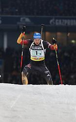 28.12.2013, Veltins Arena, Gelsenkirchen, GER, IBU Biathlon, Biathlon World Team Challenge 2013, im Bild Andreas Birnbacher (Deutschland / Germany) verfolgt von Lukas Hofer (Italien / Italy) // during the IBU Biathlon World Team Challenge 2013 at the Veltins Arena in Gelsenkirchen, Germany on 2013/12/28. EXPA Pictures © 2013, PhotoCredit: EXPA/ Eibner-Pressefoto/ Schueler<br /> <br /> *****ATTENTION - OUT of GER*****