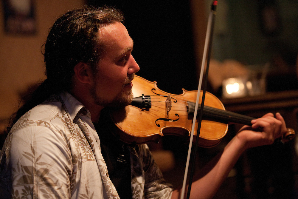 Fiddler Daniel Boucher. A group of French-Canadian musicians gather for an evening of Quebecois music at a restaurant in Burlington, Connecticut.