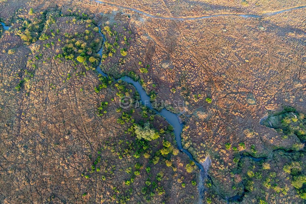 Water hole and vegetation on the savannah of Maasai Mara, Kenya, seen from a hot air balloon.