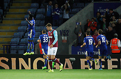 Joe Dodoo of Leicester City (L) celebrates scoring his sides first goal  - Mandatory byline: Jack Phillips/JMP - 07966386802 - 22/09/2015 - SPORT - FOOTBALL - Leicester - King Power Stadium - Leicester City v West Ham United - Capital One Cup Round 3