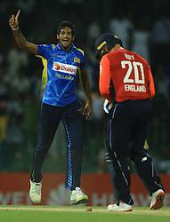 October 23, 2018 - Colombo, Sri Lanka - Sri Lankan cricketer Kasun Rajitha celebrates after taking a wicket during the 5th One Day International cricket match between Sri Lanka and England at the R  International Cricket Stadium  Sri Lanka. Tuesday 23 October 2018  (Credit Image: © Tharaka Basnayaka/NurPhoto via ZUMA Press)