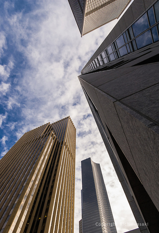 Low angle view of office buildings in downtown Seattle, Washington