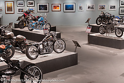 Cole Foster's CF21 custom Evo in a swingarm frame in the More Mettle - Motorcycles and Art That Never Quit exhibition in the Buffalo Chip Events Center Gallery during the Sturgis Motorcycle Rally. SD, USA. Thursday, August 12, 2021. Photography ©2021 Michael Lichter.