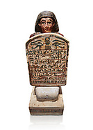 Ancient Egyptian stelophorus statue of Amenemipet, limestone, New Kingdom, 18th Dynasty, (1539-1292 BC), Deir el Medina, tomb of Ibu. Egyptian Museum, Turin. Cat 3038. white background .<br /> <br /> If you prefer to buy from our ALAMY PHOTO LIBRARY  Collection visit : https://www.alamy.com/portfolio/paul-williams-funkystock/ancient-egyptian-art-artefacts.html  . Type -   Turin   - into the LOWER SEARCH WITHIN GALLERY box. Refine search by adding background colour, subject etc<br /> <br /> Visit our ANCIENT WORLD PHOTO COLLECTIONS for more photos to download or buy as wall art prints https://funkystock.photoshelter.com/gallery-collection/Ancient-World-Art-Antiquities-Historic-Sites-Pictures-Images-of/C00006u26yqSkDOM