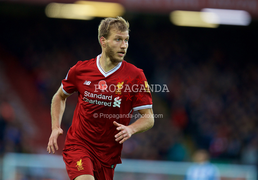 LIVERPOOL, ENGLAND - Saturday, October 28, 2017: Liverpool's Ragnar Klavan during the FA Premier League match between Liverpool and Huddersfield Town at Anfield. (Pic by David Rawcliffe/Propaganda)