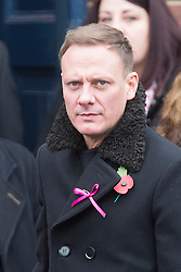 © Licensed to London News Pictures. 03/11/2015. Manchester, UK. Coronation street actor Anthony Cotton at The funeral of Kirsty Howard who was given just weeks to live at the age of four has taken place in Manchester today. Kirsty Howard was one of only two people in the world born with a back-to-front heart. She died on 24 October having spent years raising millions of pounds for Francis House children's hospice in Manchester. Photo credit: Andrew McCaren/LNP