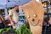 A vegetable face on a broom at the Farmers Market along Main Street in downtown Greenville, South Carolina.