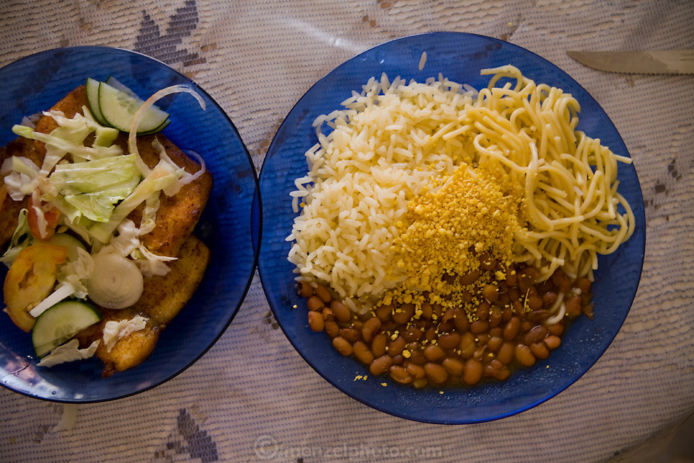 A meal of beans, rice and noodles in Mancapuru, Brazil