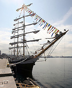The Russian three-masted tall ship Pallada is docked at the cruise ship dock at Bell St. pier in Seattle. (Greg Gilbert / The Seattle Times, 2011)