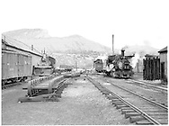 Durango yard with #484 dead near the car shop and #496 and #473 steamed-up near the roundhouse.  The wheelset storage track is also in this view.<br /> D&RGW  Durango, CO  Taken by Horan, John F. - 7/1954