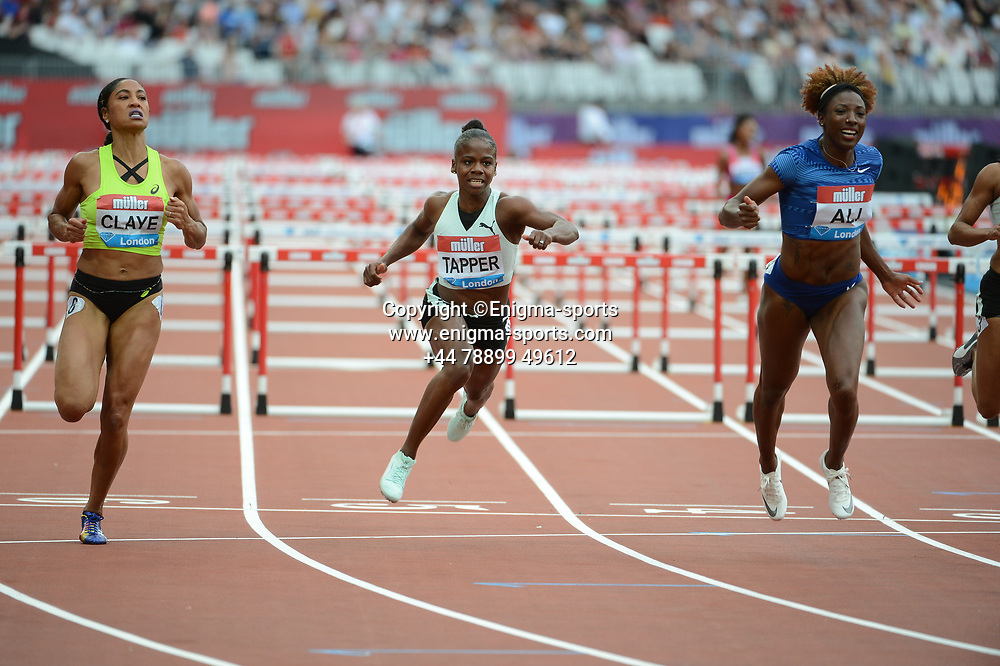 Megan Tapper competes in the Women's 100m hurdles during the IAAF Diamond League at the Queen Elizabeth Olympic Park London, England on 20 July 2019.
