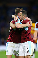Ashley Barnes and Dean Marney of Burnley ® celebrate their teams win at the end of the game. Premier League match, Burnley v Crystal Palace at Turf Moor in Burnley , Lancs on Saturday 5th November 2016.<br /> pic by Chris Stading, Andrew Orchard sports photography.