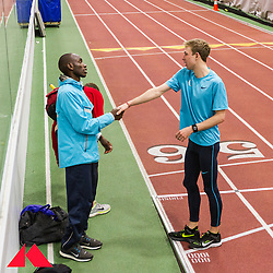 Galen Rupp greets Bethwel Birgen who paced him earlier as he set American record in 2-Mile at BU Terrier