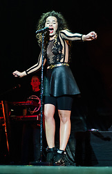© Licensed to London News Pictures. 03/05/2015. London, UK.   Ella Eyre performing live at The O2 Arena, supporting headliner Olly Murs.  Ella Eyre, real name Ella McMahon, is an English singer and songwriter known for her collaborations with Rudimental.   Photo credit : Richard Isaac/LNP