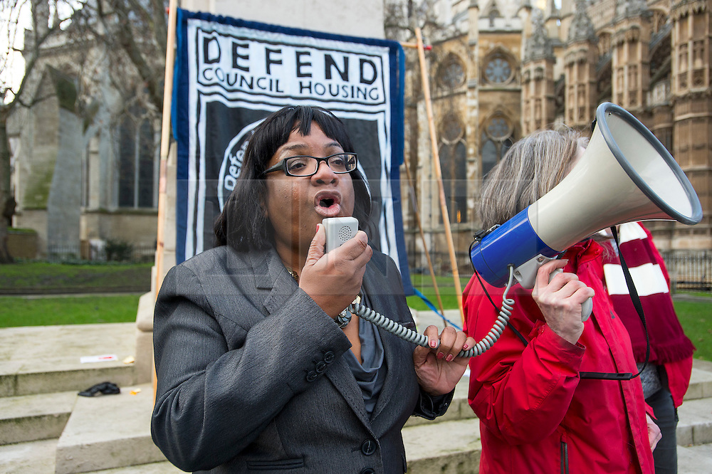 © Licensed to London News Pictures. 05/01/2016. London, UK. Labor MP DIANE ABBOTT speaking at a demo against the planned housing bill in Westminster, London  on the day that Jeremy Corbyn is expected to announce a shadow cabinet reshuffle. Photo credit: Ben Cawthra/LNP