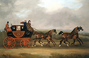 Edinburgh-London Royal Mail' by D Dally of York, British painter. Oil on canvas. Mail coach drawn by four horses. Passengers inside and outside of the coach.