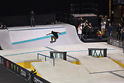 Luan Oliveira, Brazil, frontside kickflip during the men's quarter finals of the Street League Skateboarding World Tour Event at Queen Elizabeth Olympic Park on 25th May 2019 in London in the United Kingdom. The SLS World Tour Event will take place at the Copper Box Arena during the 25-26 May, 2019.