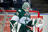 KELOWNA, CANADA - SEPTEMBER 29: Carter Hart #70 of the Everett Silvertips kneels on the ice in net during warm up against the Kelowna Rockets on September 29, 2017 at Prospera Place in Kelowna, British Columbia, Canada.  (Photo by Marissa Baecker/Shoot the Breeze)  *** Local Caption ***