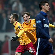 Galatasaray's Emre Colak (L) celebrate his goal during their Turkish Super League soccer match Galatasaray between IBBSpor at the TT Arena at Seyrantepe in Istanbul Turkey on Tuesday, 03 January 2012. Photo by TURKPIX