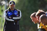 Hurricanes coach Colin Cooper watches the front row pack down.<br /> Super 14 - Hurricanes training session, at Rugby League Park, Wellington. Wednesday, 21 May 2008. Photo: Dave Lintott/PHOTOSPORT