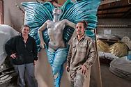 Priscilla Borri and Antonino Croci portrayed in their hangar inside the Cittadella del Carnevale