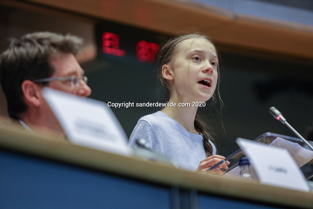Brussels, Belgium 4 March 2020 Swedish Climate Activist Greta Thunberg holds a speech at the European Parliament in Brussels for a meeting with the  the parlementarians.