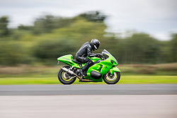 © Licensed to London News Pictures. 16/09/2017. York UK. Zef Eisenberg the current holder of the Guinness & World land speed record for the fastest Jet Turbine bike has made his comeback this morning riding a Suzuki Hayabusa Turbo at Elvington Airfield near York after a near fatal 230mph crash last year. Straightliners Top Speed weekend is similar to the famous Bonneville land speed events in the US only lower cost & more convenient for Europeans. Photo credit: Andrew McCaren/LNP