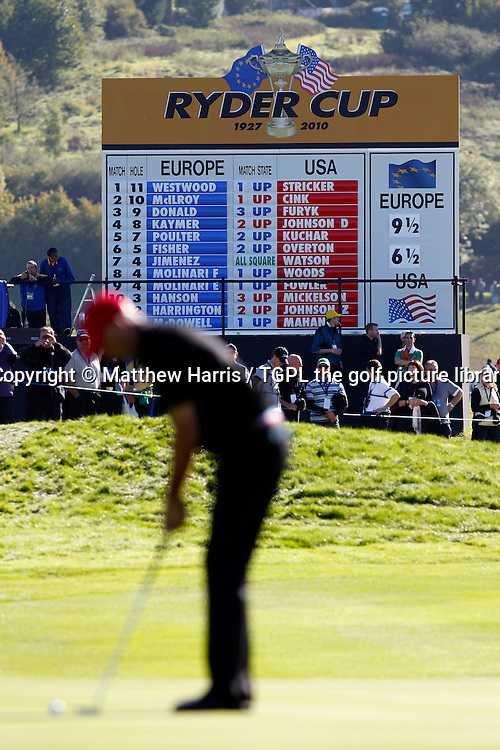 Scoreboard on final day after all matches have played the 1st hole Session Four_Singles during Ryder Cup Matches 2010,Celtic Manor,Newport,Wales.