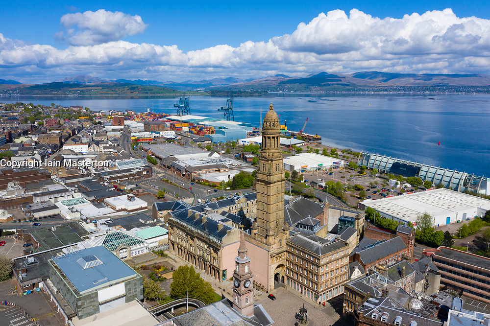 Elevated view of Greenock town centre with tower of Municipal Building in foreground , Inverclyde , Scotland, UK