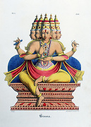 Brahma, first god of the Hindu trinity (trimurti), creator of the universe.  Lithograph from 'L'Inde Francaise', 1828.