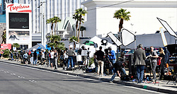 Oct 3,2017. Las Vegas NV.  The mass media camp gets bigger after Sundays mass shooting Tuesday morning.  The latest on victims as of Tuesday is still 59 dead, 527 injured last reported Monday night.  The shooting happen during day 3 of the Route 91 Harvest Festival.. Photo by Gene Blevins/ZumaPress. (Credit Image: © Gene Blevins via ZUMA Wire)