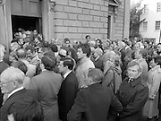 Removal of the Remains of Mr.George Colley..1983.19.09.1983.09.19.1983.19 September 1983..Image of the many mourners as they follow the coffin into the Church of Three Patrons, Rathgar,Dublin.Among the crowd were Barry Desmond T.D. Bertie Ahern T.D. and Mr Alan Dukes T.D. showing cross party sympathy to the family of George Colley.