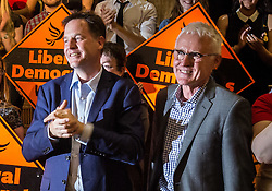 © Licensed to London News Pictures. 16/07/2015. London, UK. Nick Clegg with Norman Lamb at Islington Assembly Hall for Tim Farron's first rally as Leader of the Liberal Democrats after beating Norman Lamb in the contest to succeed Nick Clegg. Photo credit : James Gourley/LNP