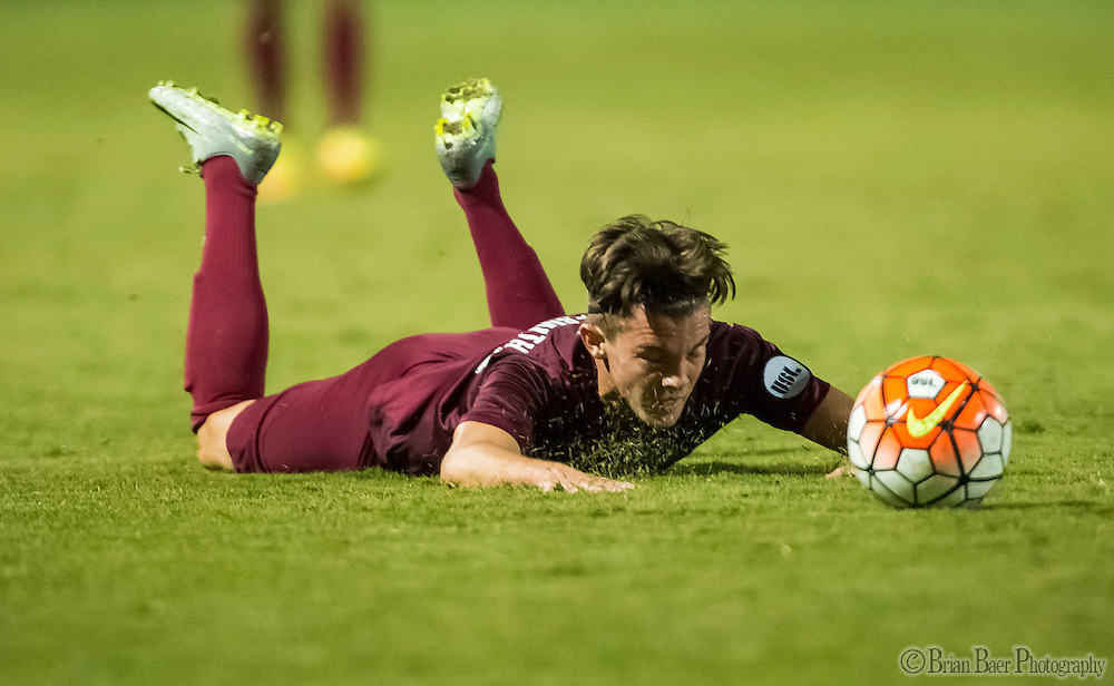 Sac Republic FC Matt LaGrassa (16), falls to the pitch during the second overtime period of the USL Western Conference first round playoff game between the Republic FC and the visiting Orange County Blues FC at Bonney Field, Saturday Oct 1, 2016.<br /> photo by Brian Baer