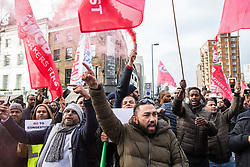 London, UK. 14th January, 2019. Hundreds of minicab drivers take part in a protest outside the offices of Transport for London organised by the Independent Workers Union of Great Britain's (IWGB) United Private Hire Drivers branch following the introduction last month of congestion charges for minicabs.