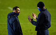 Sale Sharks Director of Rugby Alex Sanderson talks with Lood De Jaeger as he watches the players warm up during a Gallagher Premiership Round 7 Rugby Union match, Friday, Jan. 29, 2021, in Leicester, United Kingdom. (Steve Flynn/Image of Sport)