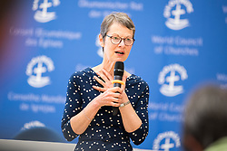 18 September 2017, Geneva, Switzerland: WCC Communications' Kristine Greenaway presents her work on WCC Publications at the Ecumenical Centre in Geneva, where the WCC hosts a meeting of member churches' Ecumenical Officers.