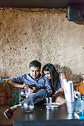 A couple at a table at the Hauz Khas Social, an upscale restaurant and work space in New Delhi, India