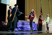 SHOT 5/10/15 3:13:48 PM - Naropa University Spring 2015 Commencement ceremonies at Macky Auditorium in Boulder, Co. Sunday. Parker J. Palmer, a world-renowned author and activist known for his work in education and social change, delivered the commencement speech to more than 300 graduate and undergraduate students along with Naropa faculty and graduate's family members. Naropa University is a private liberal arts college in Boulder, Colorado founded in 1974 by Tibetan Buddhist teacher and Oxford University scholar Chögyam Trungpa. (Photo by Marc Piscotty / © 2014)