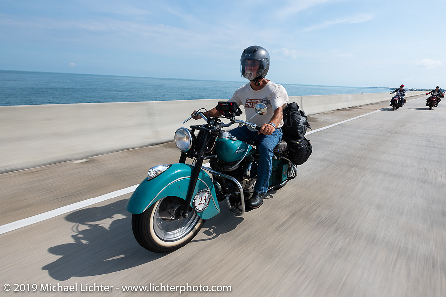 Joe Ferri riding his restored 1947 Indian Chief in the Cross Country Chase motorcycle endurance run from Sault Sainte Marie, MI to Key West, FL. (for vintage bikes from 1930-1948). Stage-10 covered 110 miles from Miami to the finish in Key West, FL USA. Sunday, September 15, 2019. Photography ©2019 Michael Lichter.