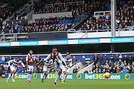 Jonathan Kodjia of Aston Villa takes a penalty in the 1st half but it is saved by Alex Smithies , the Queens Park Rangers goalkeeper.  EFL Skybet championship match, Queens Park Rangers v Aston Villa at Loftus Road Stadium in London on Sunday 18th December 2016.<br /> pic by Steffan Bowen, Andrew Orchard sports photography.